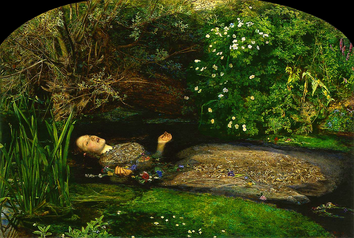 Ophelia at the moment of death, by Millais