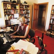 """Her Writing Journey"" (with cat) — Arizona Daily Star, Sept. 30, 2007"