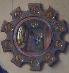 Mirror detail from The Arnolfini Wedding by Jan Van Eyck, 1434 (National Gallery, London)