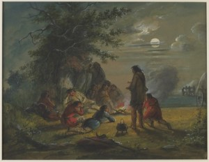 Alfred Jacob Miller, Moonlight — Camp Scene, 1858-60, Walters Art Museum