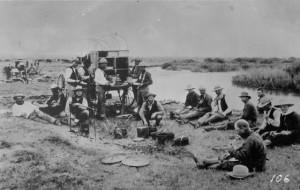 Roundup camp, Wyoming, 1880s